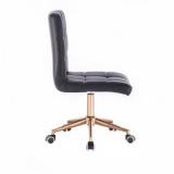 Kosmetická židle TOLEDO na zlaté podstavě s kolečky - černá