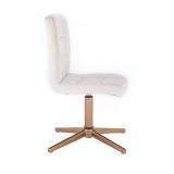 Kosmetická židle TOLEDO na zlatém kříži - bílá
