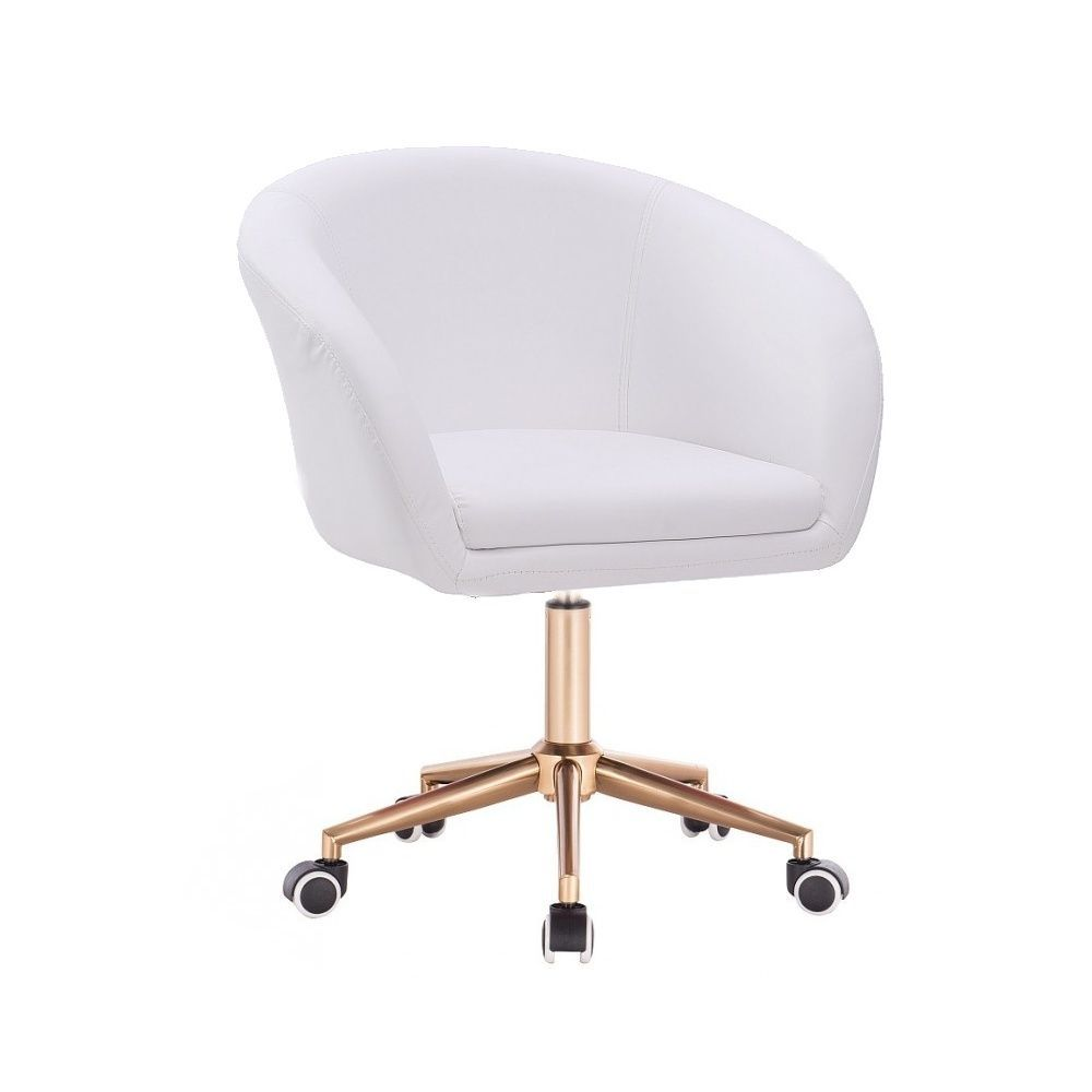Kosmetická židle VENICE na zlaté podstavě s kolečky - bílá