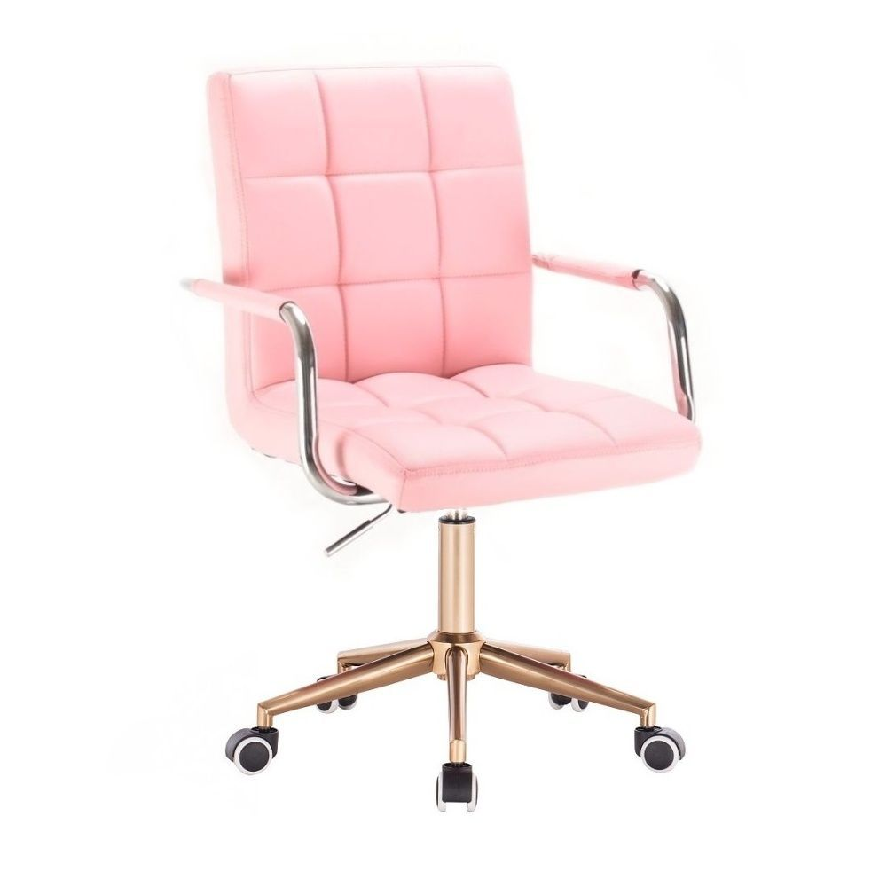 Kosmetická židle VERONA na zlaté podstavě s kolečky - růžová