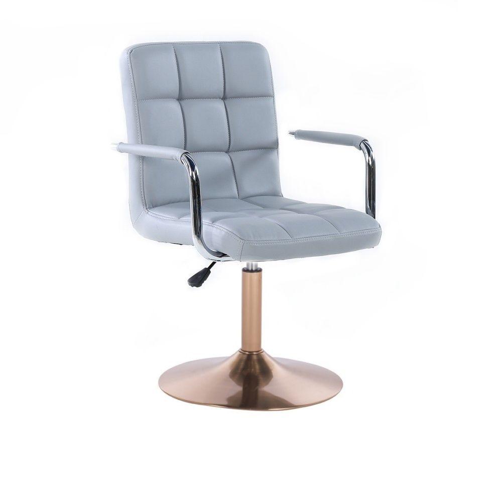Kosmetická židle VERONA na zlatém talíři - šedá