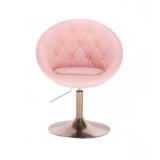 Kosmetické křeslo VERA na zlatém talíři - růžové