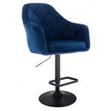Barová židle ANDORA VELUR  na černém talíři - modrá