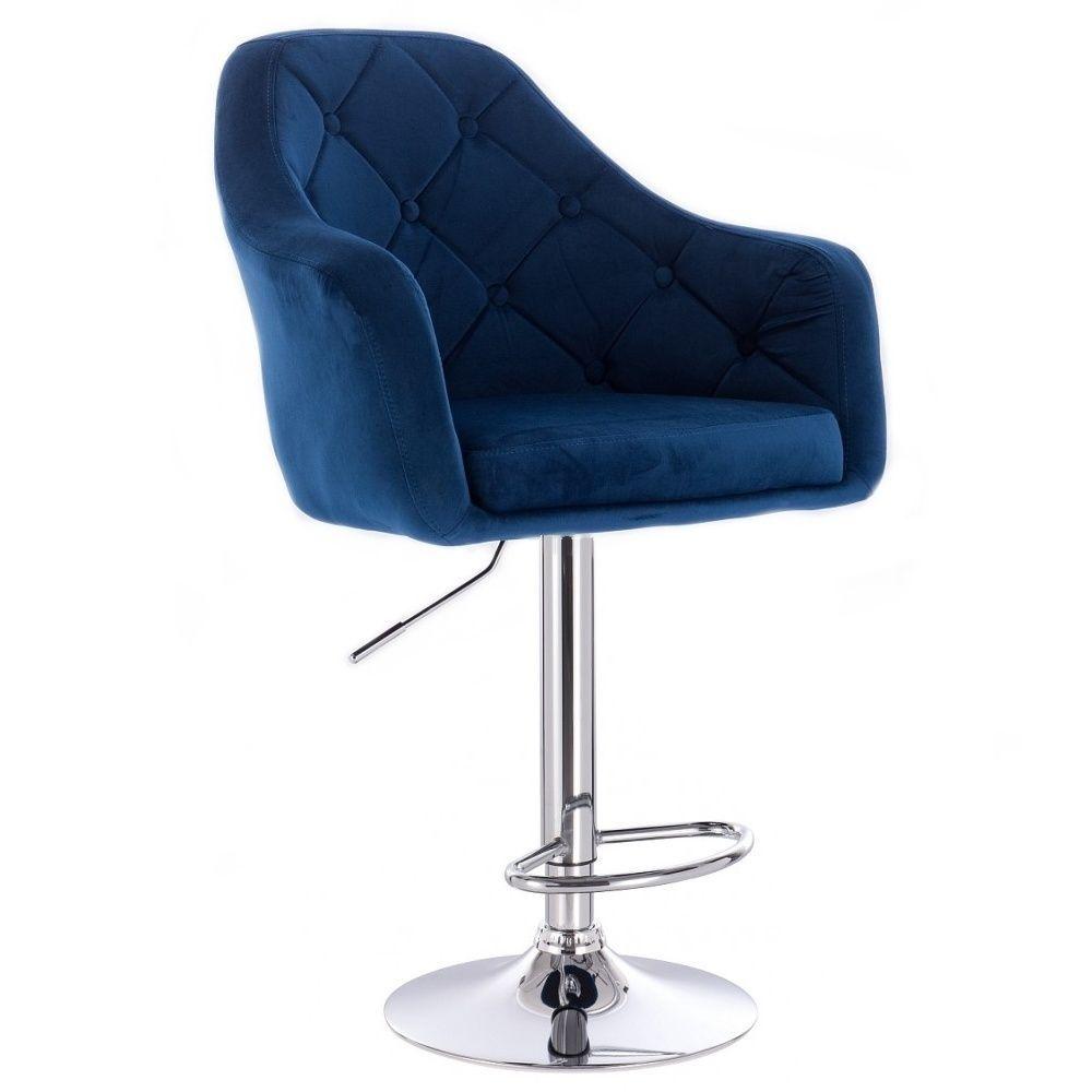 Barová židle ANDORA VELUR  na stříbrném talíři - modrá