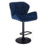 Barová židle MILANO VELUR na černé kulaté podstavě - modrá