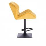 Barová židle MILANO VELUR na černé podstavě - žlutá