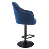 Barová židle ROMA VELUR na černém talíři - modrá