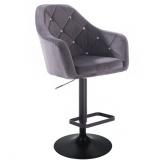 Barová židle ROMA VELUR na černém talíři - tmavě šedá