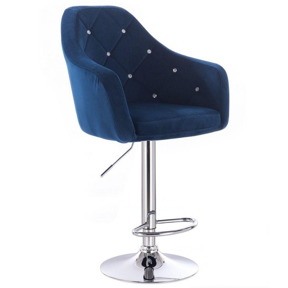 Barová židle ROMA VELUR na stříbrném talíři - modrá