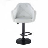 Barová židle ANDORA na černém talíři - bílá