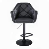 Barová židle ANDORA na černém talíři - černá