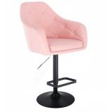 Barová židle ANDORA na černém talíři - růžová