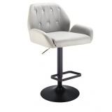 Barová židle LION na černém talíři - šedá