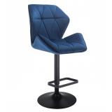 Barová židle MILANO MAX VELUR na černém talíři - modrá