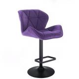 Barová židle MILANO VELUR na černém talíři  - fialová