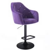 Barová židle ROMA VELUR na černém talíři - fialová