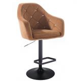 Barová židle ROMA VELUR na černém talíři - hnědá