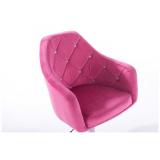 Barová židle ROMA VELUR na černém talíři - růžová