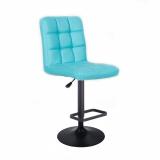 Barová židle TOLEDO na černém talíři - tyrkysová