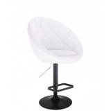 Barová židle VERA na černém talíři - bílá