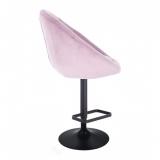 Barová židle VERA VELUR na černém talíři - fialový vřes