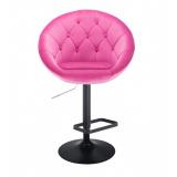 Barová židle VERA VELUR na černém talíři - růžová