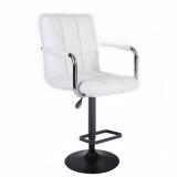Barová židle VERONA na černém talíři - bílá