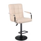 Barová židle VERONA na černém talíři - krémová