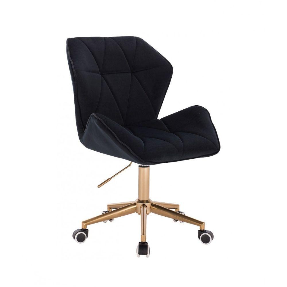 Kosmetická židle MILANO MAX VELUR na zlaté základně s kolečky - černá