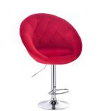 Barová židle VERA VELUR na stříbrné kulaté podstavě - červená