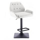 Barová židle LION na černé podstavě - bílá