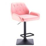 Barová židle LION na černé podstavě - růžová