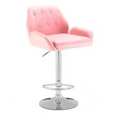 Barová židle LION na stříbrném talíři - růžová