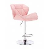 Barová židle MILANO na kulaté stříbrné podstavě - růžová