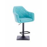 Barová židle ROMA na černé podstavě - tyrkysová