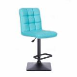 Barová židle TOLEDO na černé podstavě - tyrkysová