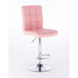 Barová židle TOLEDO na stříbrné kulaté podstavě - růžová