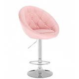 Barová židle VERA na stříbrné kulaté podstavě - růžová