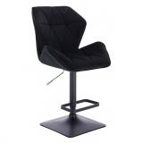Barová židle MILANO MAX VELUR na černé podstavě - černá