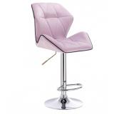 Barová židle MILANO MAX VELUR na stříbrném talíři - fialový vřes