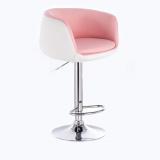 Barová židle MONTANA na stříbrném talíři - bílo-růžová
