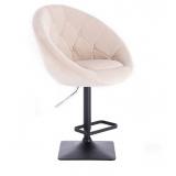 Barová židle VERA VELUR na černé podstavě - krémová