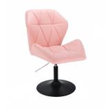 Kosmetická židle MILANO MAX na černém talíři - růžová