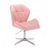 Kosmetická židle MILANO MAX na na stříbrném kříži - růžová