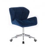 Kosmetická židle MILANO VELUR na stříbrné podstavě s kolečky - modrá