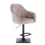 Barová židle ROMA VELUR na černé podstavě - světle šedá