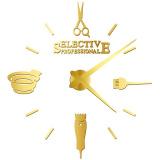 Dekorativní hodiny s kadeřnickými motivy - zlaté