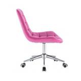 Kosmetická židle PARIS VELUR na stříbrné podstavě s kolečky - růžová