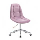 Kosmetická židle SAMSON VELUR na stříbrné podstavě s kolečky - fialový vřes
