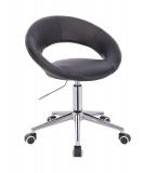 Kosmetická židle NAPOLI na stříbrné podstavě s kolečky - černá